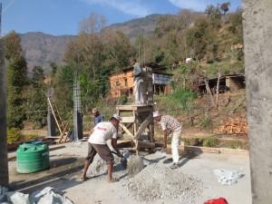 Mixing materials for pillar