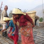Women, carrying material