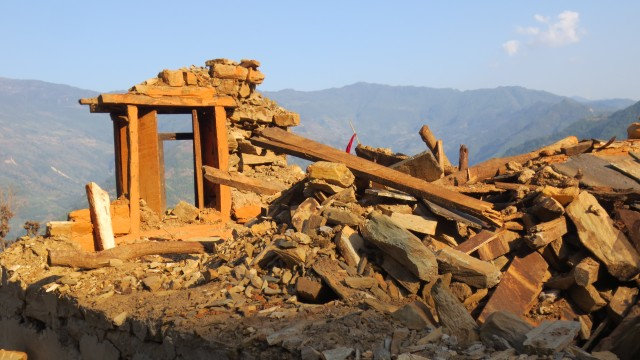 Damaged home in Mankha